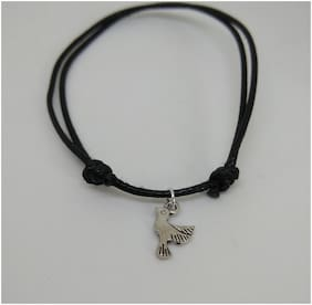 Oxidized silver bird charm in adjustable knot black thread single anklet