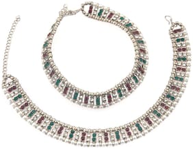Parinaaz Traditional Antique Oxidised Silver Plated Crystal Pearl Wedding Bridal Wear Anklet Set Payal Jewellery