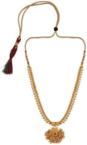 Parna Traditional Ethnic Maharashtrian Jewellery Kolhapuri Saaj Gold Beads Thushi Necklace for Women