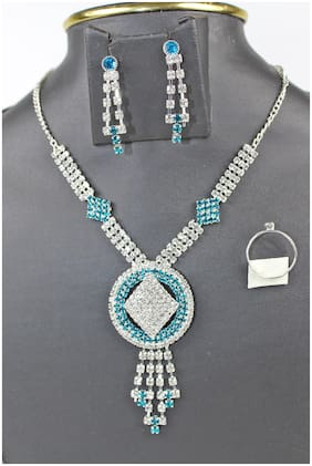 Party Wear American Diamond Traditional Stylish Fashion Jewellerry  of Necklace set /earrings /Ring  for Women/Girls