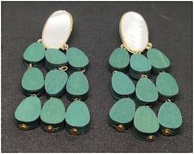 Partywear Long Green Wood Dangle Earrings For Girls/Women
