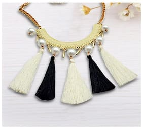 Black and White Tasseled Statement Pearl Necklace