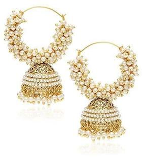 Pearl Hoop Jhumka Earrings