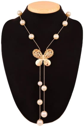 Pendent Western Wear Necklace for Women & Girls Long Chain Butterfly (1Pc)
