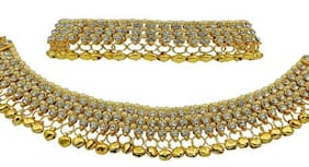 Penny Jewels Alloy Enameled White Diamond Splendid Contemporary Bridal Payal Anklet For Women & Girls