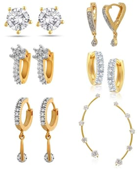 Penny Jewels Golden Alloy Earrings Pack Of 6