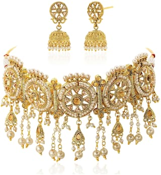 57e628d0d Peora 18K Gold Plated Temple Jewellery Crystal Peal Choker Necklace with Jhumki  Jhumka Earrings For Women