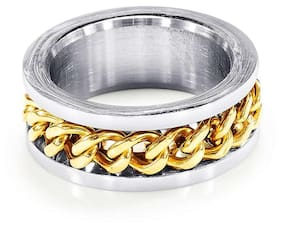 96b1b3fc8 Peora 316L Stainless Steel Bold Gold Coil Ring for Men and Boys PX5R06  (Size-
