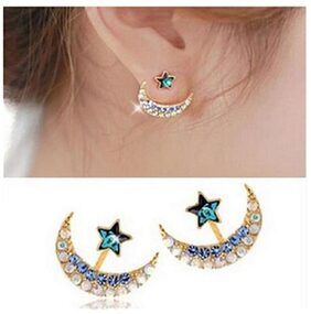 Phenovo Moon and stars After Hanging Stud Earrings for Lady Women Girls