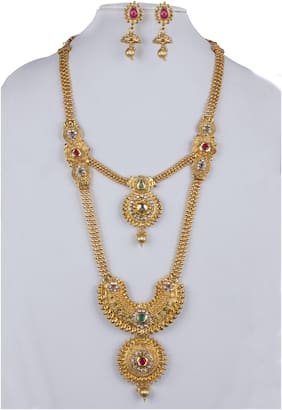 Piah Fashion Gold-Plated Green Maroon Colour Long  Gold Plated  Necklace with Earrings Jewellery Set for Women's