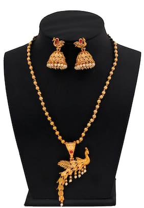 Piah Fashion Beauteous Ball Chain Gold Plated Peacock Necklace set For Women