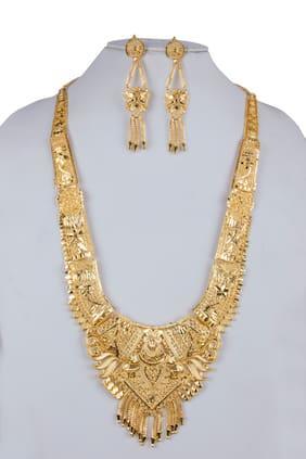 Brass Gold Layered Necklace Set
