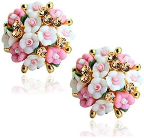 Pink-White Florette Stud Earrings