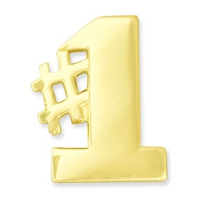 PinMart's Gold Number One #1 Hashtag Lapel Pin