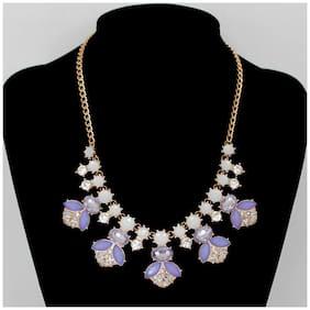 Popmode Floral Blue Coral Necklace