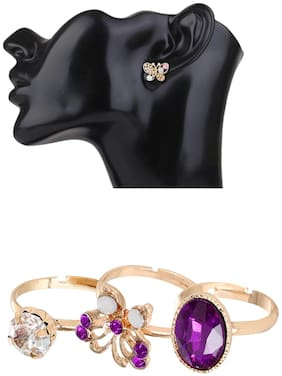 Popmode Butterfly Earring and 3 Piece Butterfly Ring Combo