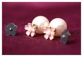 Popmode Minimal Cute Flower Enamel & Liza Earclip  Earrings COMBO