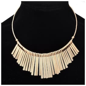 Popmode Floral Fashion Gold Tone Metal Fringe Tassel Collar Chain Necklace Alloy Necklace