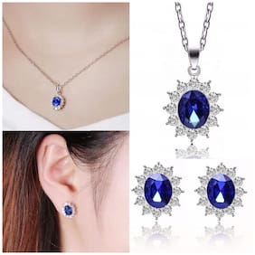 Popmode Floral Regal Sapphire Studded Silver Plated Stud Earrings Pendant and Chain Set