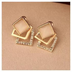 Popmode Minimal Geometric Design Set of Earrings with Moon Stone & Cubic Zirconia