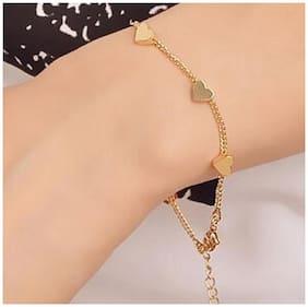 Popmode Chain Bracelets Gold Plated Heart Links Girls Fashion Casual Partywear Bracelet