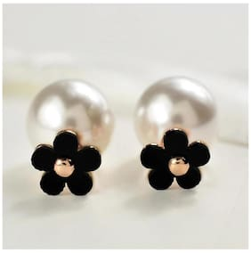 PopmodeMinimal  Gold Plated Black Flower and Pearl Studded Double Sided Women's Fashion Earrings