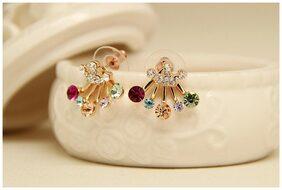 Popmode Minimal Earrings for Women with Multiple Gemstones & Bow