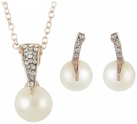 Popmode Floral Rosegold Plated Pearl and Stone Studded Women's Fashion Pendant Chain Necklace