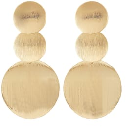 Popmode Pretty Brushed Matte Golden Disc  Drop Earring