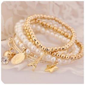 Popmode Chain Bracelets pretty Pearl and golden set of 6 Bracelets