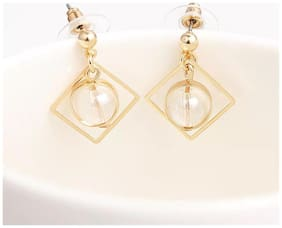 Popmode Minimal Gold Plated Geometric Design Crystal Drop Fashion Earrings for Girls Women