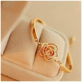 Popmode Chain Bracelets Rose Shaped Bracelet with Crystal