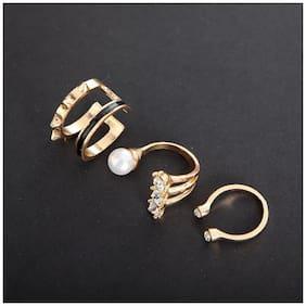 Popmode Set of 3 Rhinestone and Pearl Rings