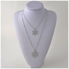 Popmode Floral Double Layered Snowflakes Cubic Zirconia Studded Women's Long Fashion Pendant Necklace