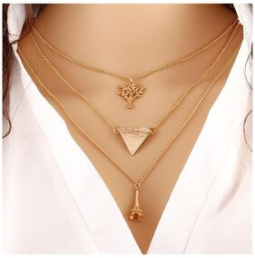 Popmode Floral Gold Plated Triple Layered Women's Statement Fashion Necklace