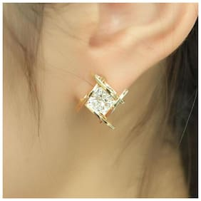 Popmode Gold Plated Women's Fashion Partywear Everyday Wear Earrings With Rhinestone Inset And Golden Frame
