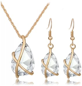 Popmode Floral Gold Plated White Clear Stone Girls Fashion Pendant and Earrings Set