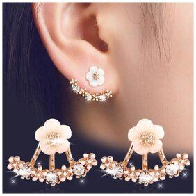 Popmode Minimal White and Golden Flower Women's Casual Partywear Fashion Stud Earring