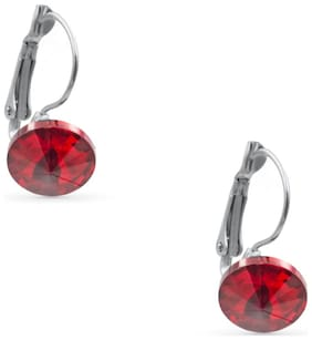 Three Shades Stylish Dazzling Earring for Girls & Women in Shiny Red Studded Stone