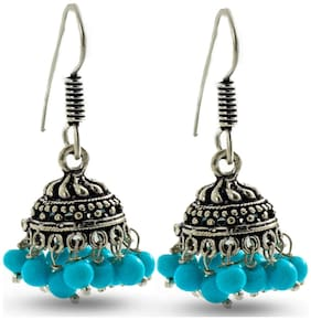 Three Shades Light Weight & Skin Friendly Pretty Antique Silver Blue Jhumki for Girls