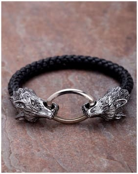 Dare by Voylla Punk Style Fox Head Black Leather Bracelet For Men From Dare by Voylla