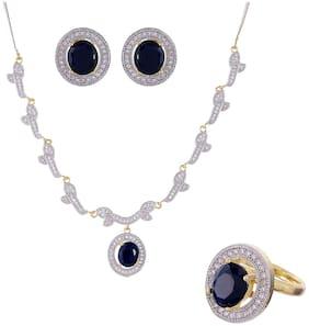 Blue Earring Ring Bracelet & Necklace Set