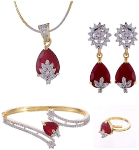 RA-Rock American Dimond Stylish Red Color Combo of Necklace Set with Earring;Ring and Bracelet (RRJCB102)