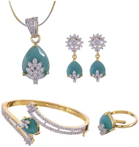 RA-Rock American Dimond Stylish Combo of Necklace Set with Earring;Ring and Bracelet (RRJCB103)