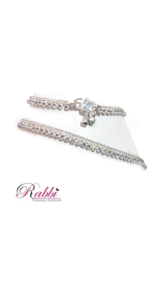 Rabbi silver plated white stone star anklet payal 10 inch