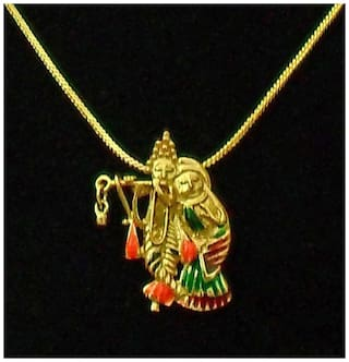 Radha Krishna Gold Plated Religious God Pendant with Chain for Men & Women by Beadworks
