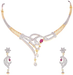 Ratnavali Jewels American Diamond CZ Gold Plated Designer Jewellery Set/ Necklace Set With Chain & Earring For Girls/Women (RV101)