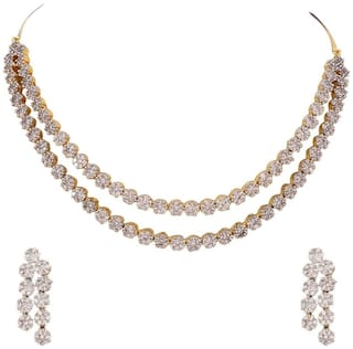 Buy Ratnavali Jewels American Diamond Cz Gold Plated Designer Jewellery Set Necklace Set With Chain Earring For Girls Women Rva102 Online At Low Prices In India Paytmmall Com