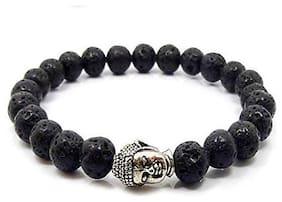 REBUY Natural Black Crystal Lava Stone Yoga Meditation Buddha Bracelet for Men and Women