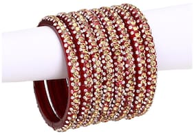 Red Color Glass Bangle Cum Kada Set Of Eight Decorative With Beads And Stone (with Safety Cum Gift Box)